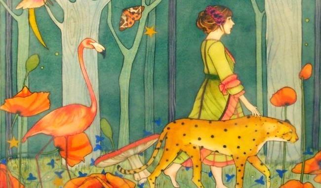 Kobieta i dzikie zwierzęta.