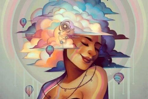 życie z humorem - kobieta w chmurach