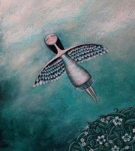 Latająca kobieta ze skrzydłami