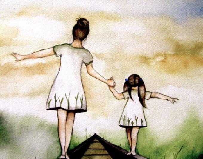 Życie z bólem matki - matka i córka.