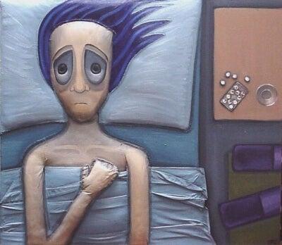 Mężczyzna cierpiący na bezsenność.