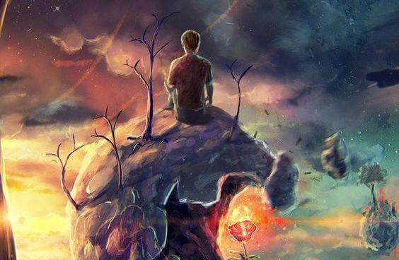 Martwienie się. Mężczyzna siedzący na planecie.