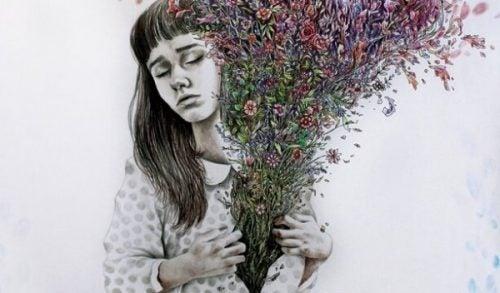 Niemożliwa miłość - dziewczyna cierpi z jej serca wyrastają kwiaty