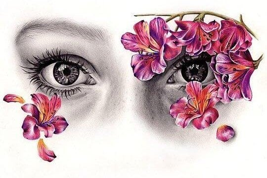Nie próbuj mnie zmieniać - dziewczyna z kwiatami na twarzy.