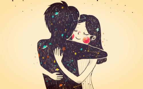 Przytulona para.