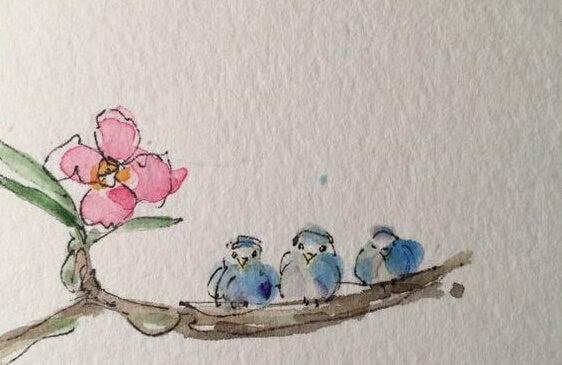 Ptaszki na gałęzi.