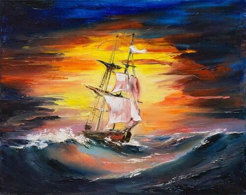 Statek gnany przez sztorm