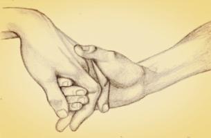 Wszystko będzie dobrze - dłonie splecione w uścisku.