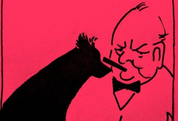 Winston Churchill i jego czarny pies.