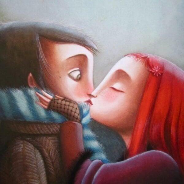 Tolerowanie niedoskonałości - całująca się para.