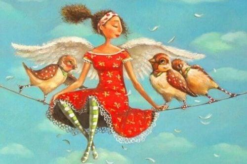Piękni ludzie - dziewczyna i ptaki