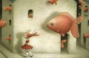 Dziewczynka z wielką rybą