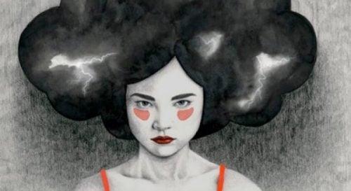 Kobieta z burzową chmurą zamiast włosów