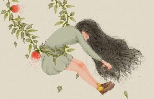 Zanik pamięci - Kobieta unoszona przez gałąź