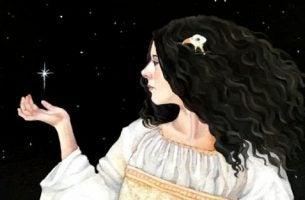 Siła charakteru - kobieta z gwiazdą w dłoni.