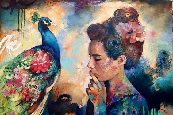 Kobieta i paw - wyobraźnia
