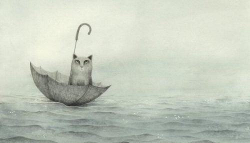 Franzesca Dafne – kot siedzi w parasolu