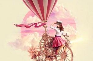 Ludzie sukcesu kobieta w chmurach