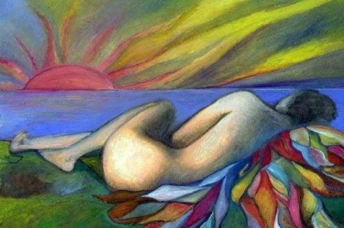 Miłość - kobieta na łące
