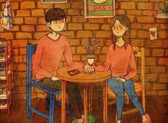 Para przy stoliku