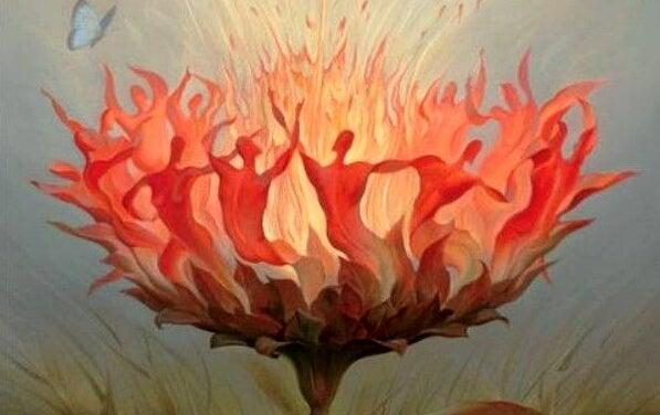 Płonący kwiat.