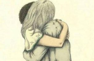 Przytulająca się para.