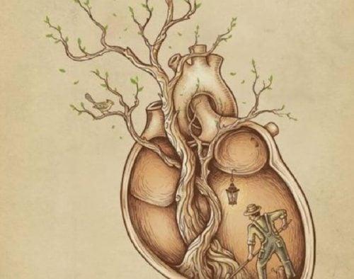 Serce z drzewem i człowiekiem w środku