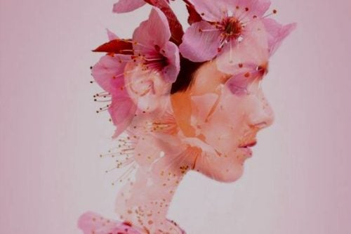 Twarz dziewczyny w kwiatach