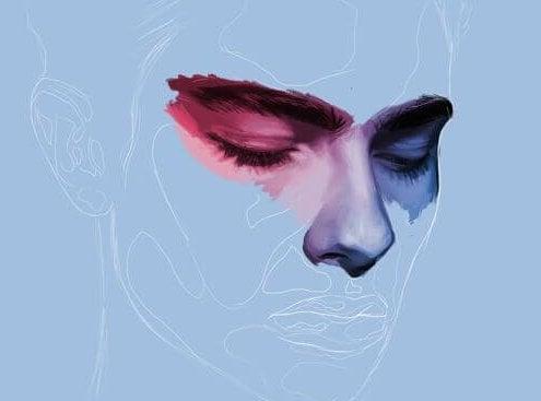 twarz mężczyzny na niebieskim tle