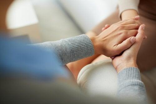 Umówić się do psychologa - dłonie