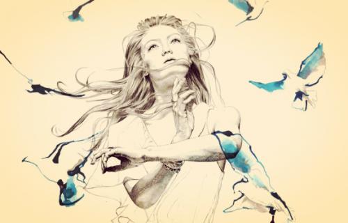 Wolność - kobieta z ptakami