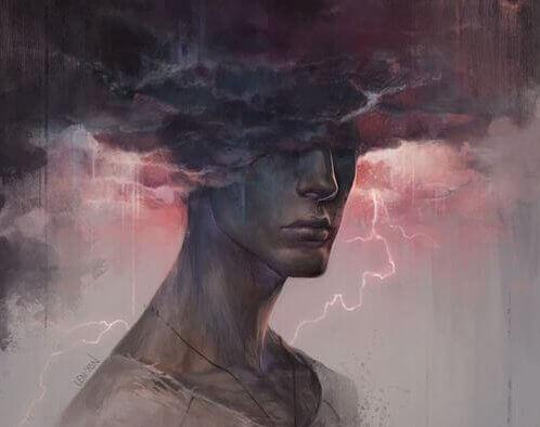 Mężczyzna z głową w burzowych chmurach.