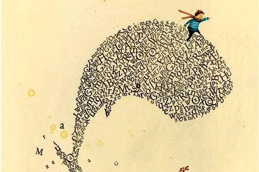 Dziecko na wielorybie ze słów.