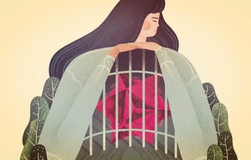 Dziewczyna z różą w klatce