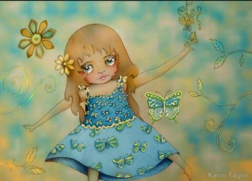 Dziewczynka w niebieskiej sukience