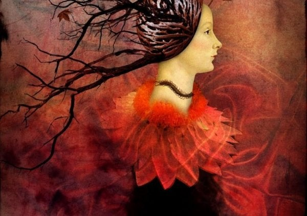 Konflikt - kobieta w czerwieni,