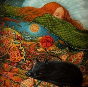 Śpiąca kobieta i kot.