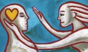 kobieta zbliżająca się do mężczyzny z sercem w głowie - techniki Gestalt