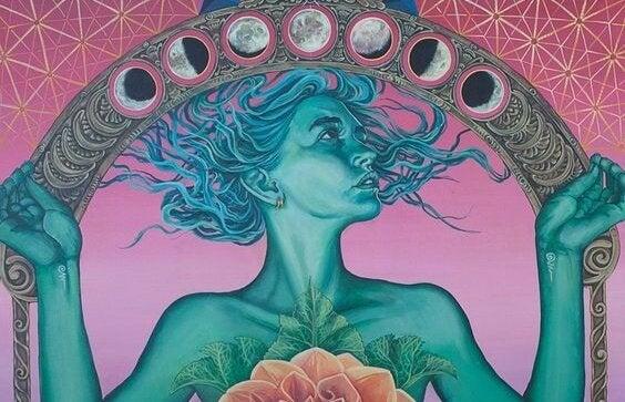 kobieta i księżyce - buddyzm