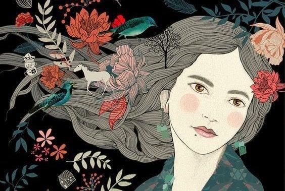Dziewczyna z kwiatami we włosach.
