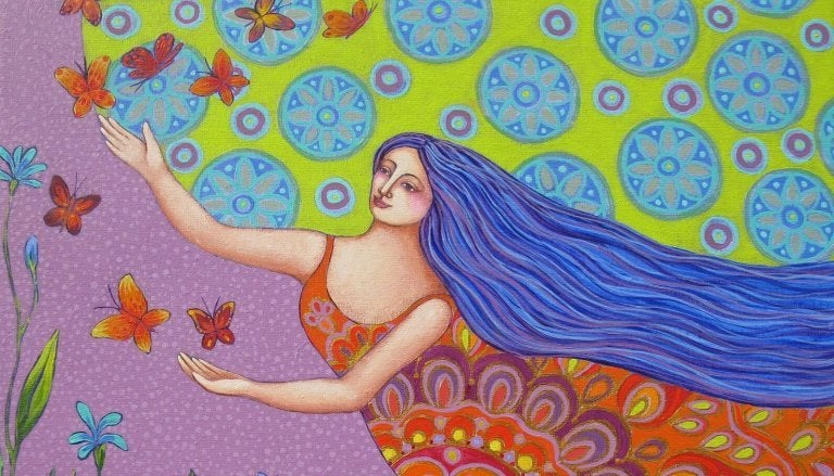 Kobieta łapie motyle