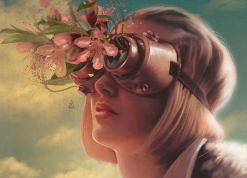 Dziewczyna w okularach z kwiatami.