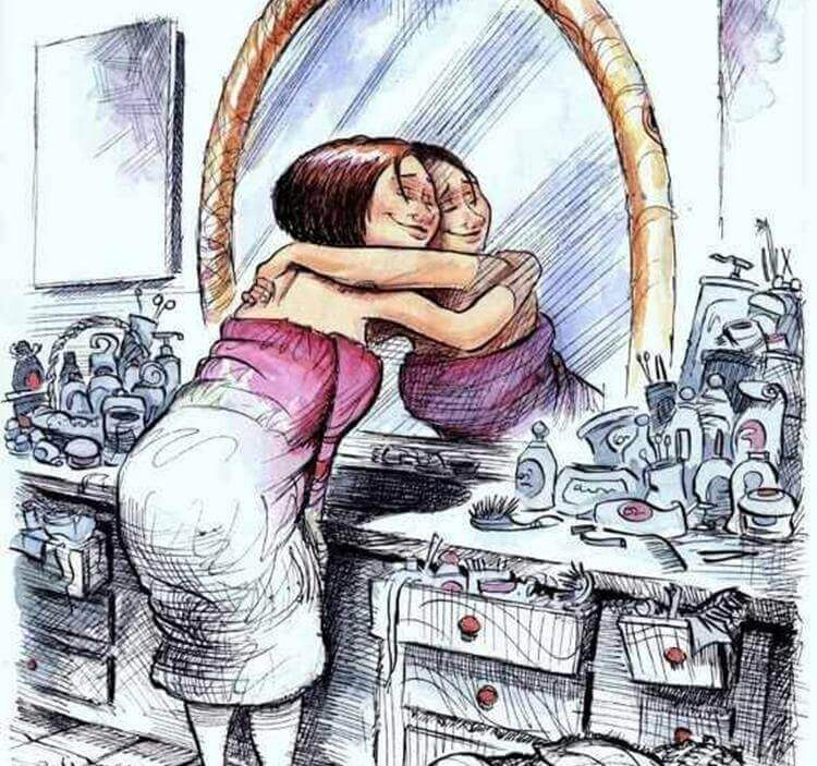 kobieta przytulająca swoje odbicie