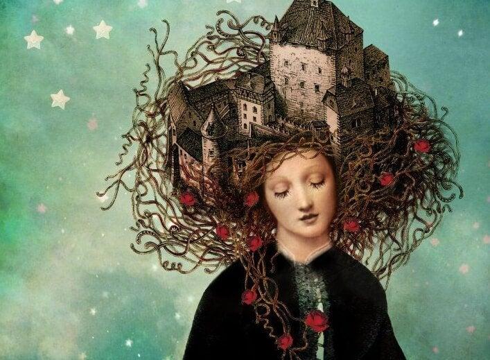 Kobieta z zamkiem na głowie.