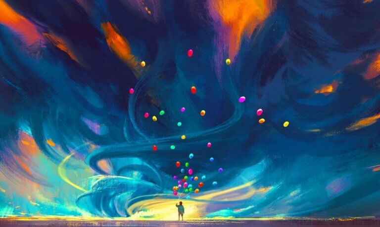 Kolorowe balony lecące do nieba.