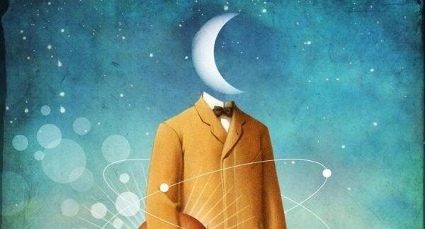 Mężczyzna z księżycem zamiast głowy.