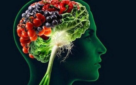Mózg i warzywa oraz owoce.