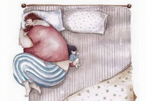 Ojciec i córka śpiący na łóżku
