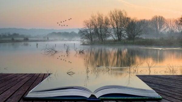 Otwarta książka nad jeziorem.