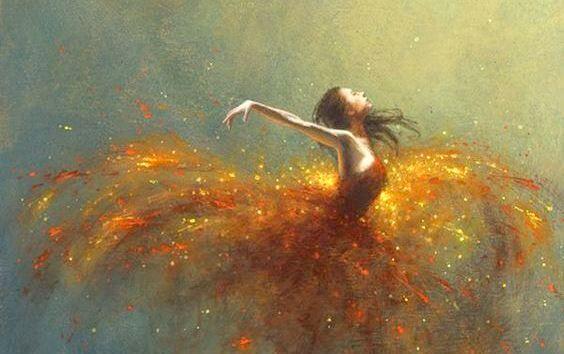 Tancerka w złotej sukience.